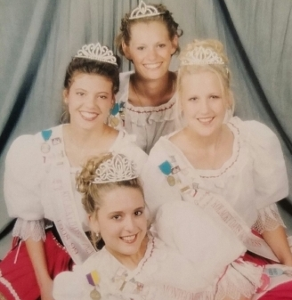 Montgomery's Ambassadors for 1998 clockwise are Miss Congeniality Mary Harms, 1st Princess Gretchen Gilhousen, Queen Diane Jindra, and 2nd Princess Abby Smith