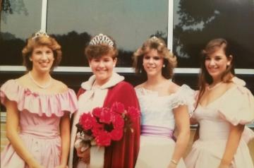 1985 Kolacky Days Royalty. From Left: First Princess Melissa Reeder, Queen Cyndi Scheffert, Second Princess Barb Lang, & Miss Congeniality Kathryn Schleis
