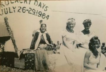 The 1984 Kolacky Days Royalty includes Maureen McGuire, 1st Princess Shari Schramm, 2nd Princess DeeDee Holetz, & Miss Congeniality Donna Scheffert