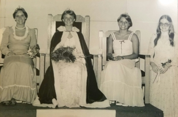 The 1977 Kolacky Day Royalty. From Left: 1st Princess Jane Kalis, Queen Laurie Odenthal, 2nd Princess Pattie Gregor, and Miss Congeniality Corrine Coughlin
