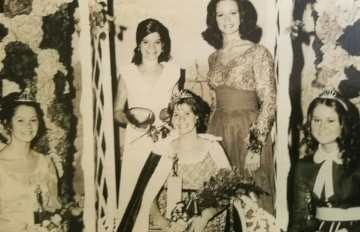 Montgomery's 1972 Kolacky Day Royalty. Queen Kymn Harpel, 1st Princess Roxie Preble, 2nd Princess Patricia Lebens, and Miss Congeniality Mary Krenik