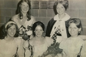 1970 Kolacky Day Royalty. Queen Barb Flicek, 1st Princess Patti Wondra, 2nd Princess Debbie O'Regan, & Miss Congeniality Bonnie Duffney