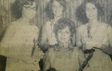 1968 Kolacky Day Royalty. Queen Rosaleen Moes, Miss Congeniality JoAnn Vlasak, 1st Princess Mary Flicek, and 2nd Princess Alice Lehman