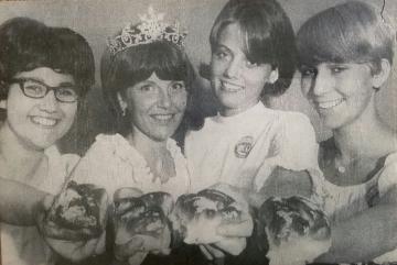 1967 Kolacky Day Royalty. 1stPrincess Linda Krocak, 1966 Queen Betty Jean Corbett, 1967 Queen Susan Pany, and 2nd Princess Karen Holicky.