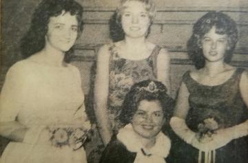 1963 Kolacky Day Royalty. Queen Marlaine Mellen, 1st Princess Sandy Miller, and 2nd Princess Sharon Grundhoffer