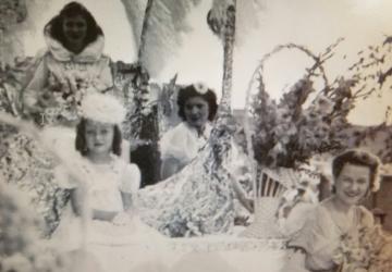 1941 Kolacky Day Royalty - Queen Betty Wondra with Margaret Stryzinski and Alice Krenik.  1940 Kolacky Day Royalty - Queen Ethel Holicky with Phyllis Janovsky and Evelyn Krocak