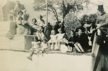 1934 Kolacky Day Royalty. Queen Gladys Peroutka with Helen Kovarik, Henrietta Busta, and Lilian Lusk as attendants