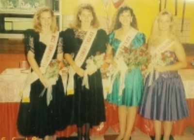 Montgomery's Ambassadors for 1991. From Left: Miss Congeniality Amy Parsons, Princess Bobbi Landkamer, Queen Christy Smisek, & Princess Kelly Petricka