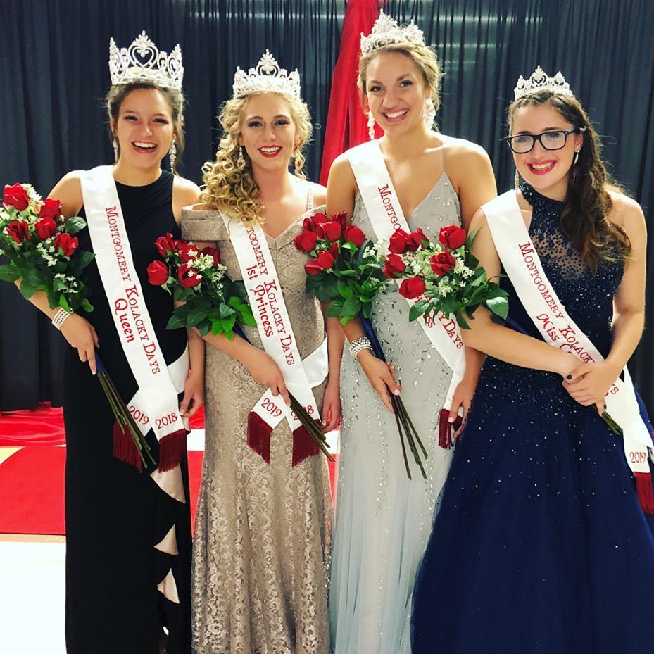 Montgomery's 2018 Kolacky Days Royalty (from left) Queen Rianna Doyle, First Princess Elizabeth Trnka, Second Princess Maggie Trnka & Miss Congeniality Kailey Mach.