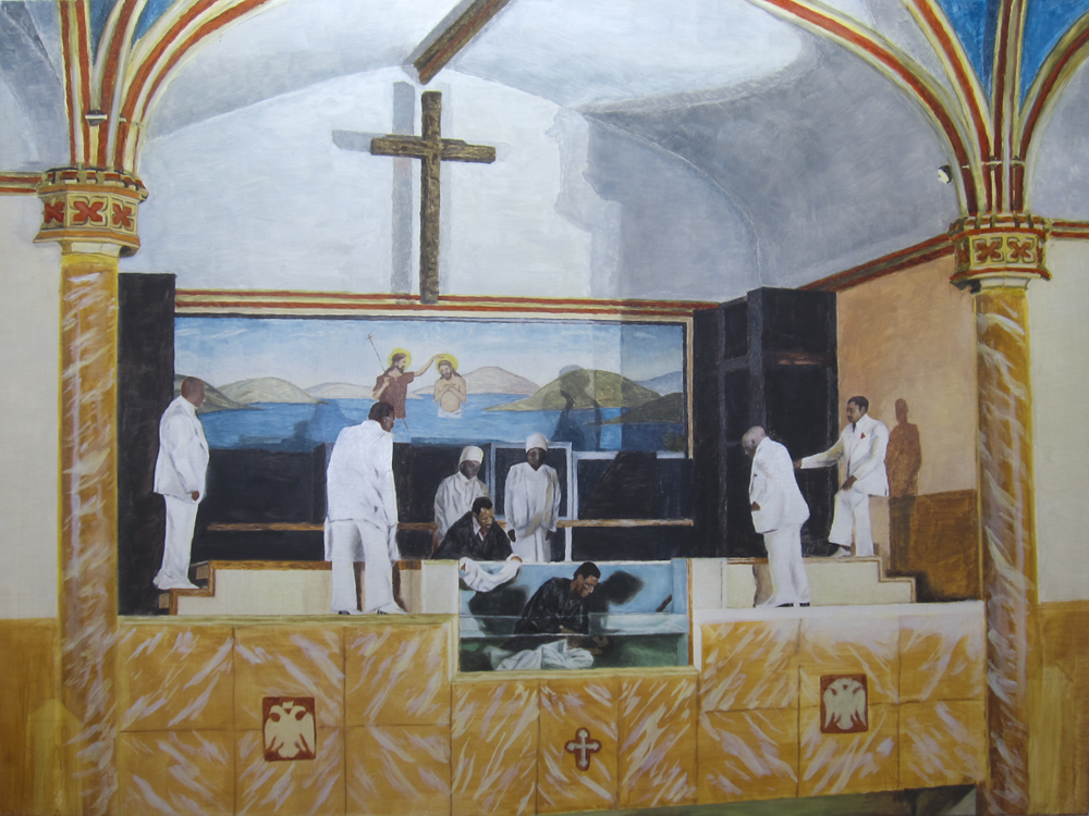 Study for 'Baptism' 2013 oil on canvas 36 x 48 in.