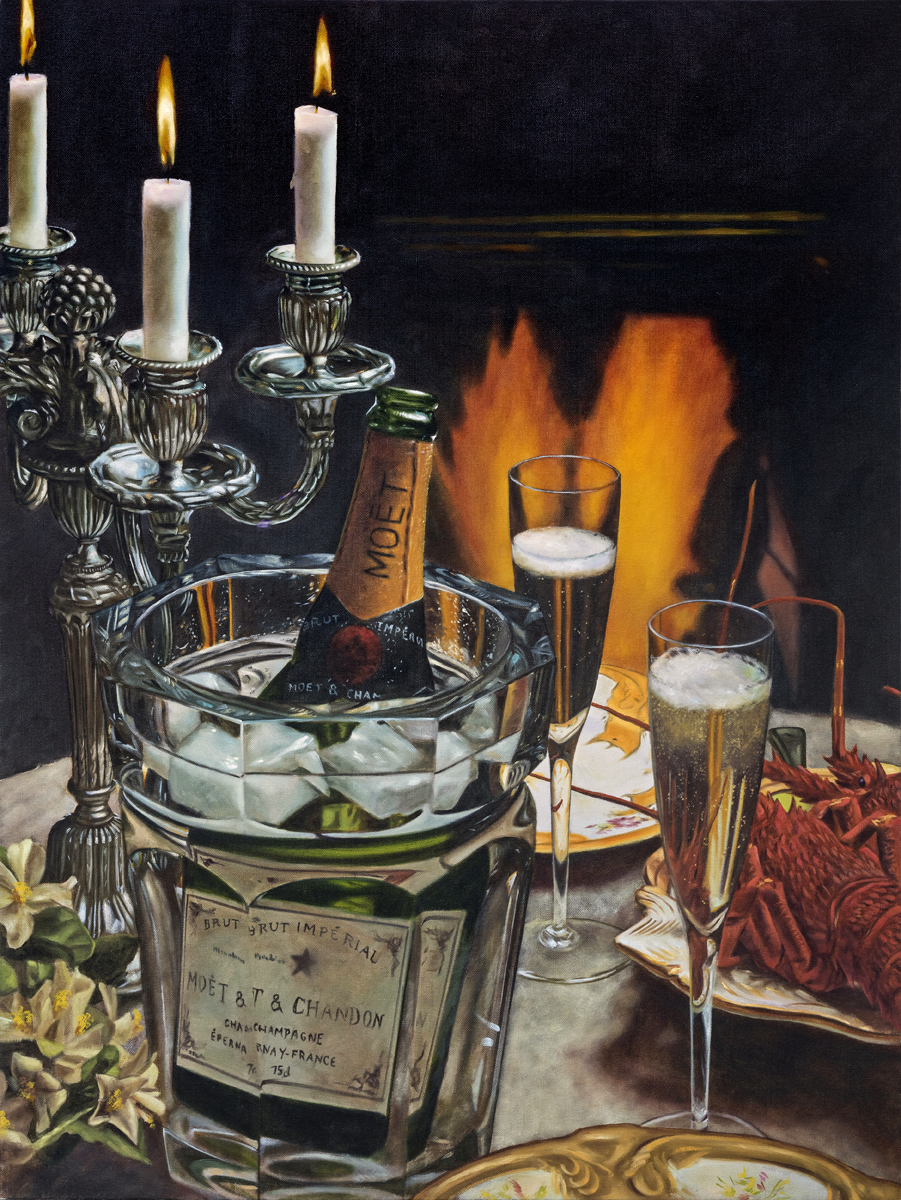 Still Life with Champagne and Lobster 2018 oil on canvas 40 x 30 in.