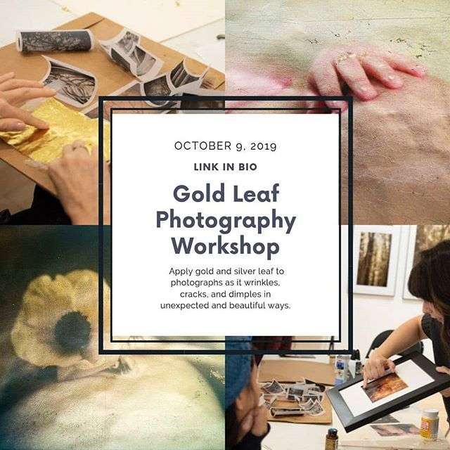 My upcoming workshop at #frankgallery still has a few spots left! ⠀⠀⠀⠀⠀⠀⠀⠀⠀ Sometimes I find myself struggling with the lack of tactile experience with digital photography and just need to get my hands messy. If you are looking for a way to get back in touch with your tactile creative process and learn a new technique for photo treatment, I'll teach you the basics of how to print on vellum and apply various, unpredictable gilding mediums. It's a sensual, messy, imperfect, and tactile process that will free up your creativity and produce beautiful results.