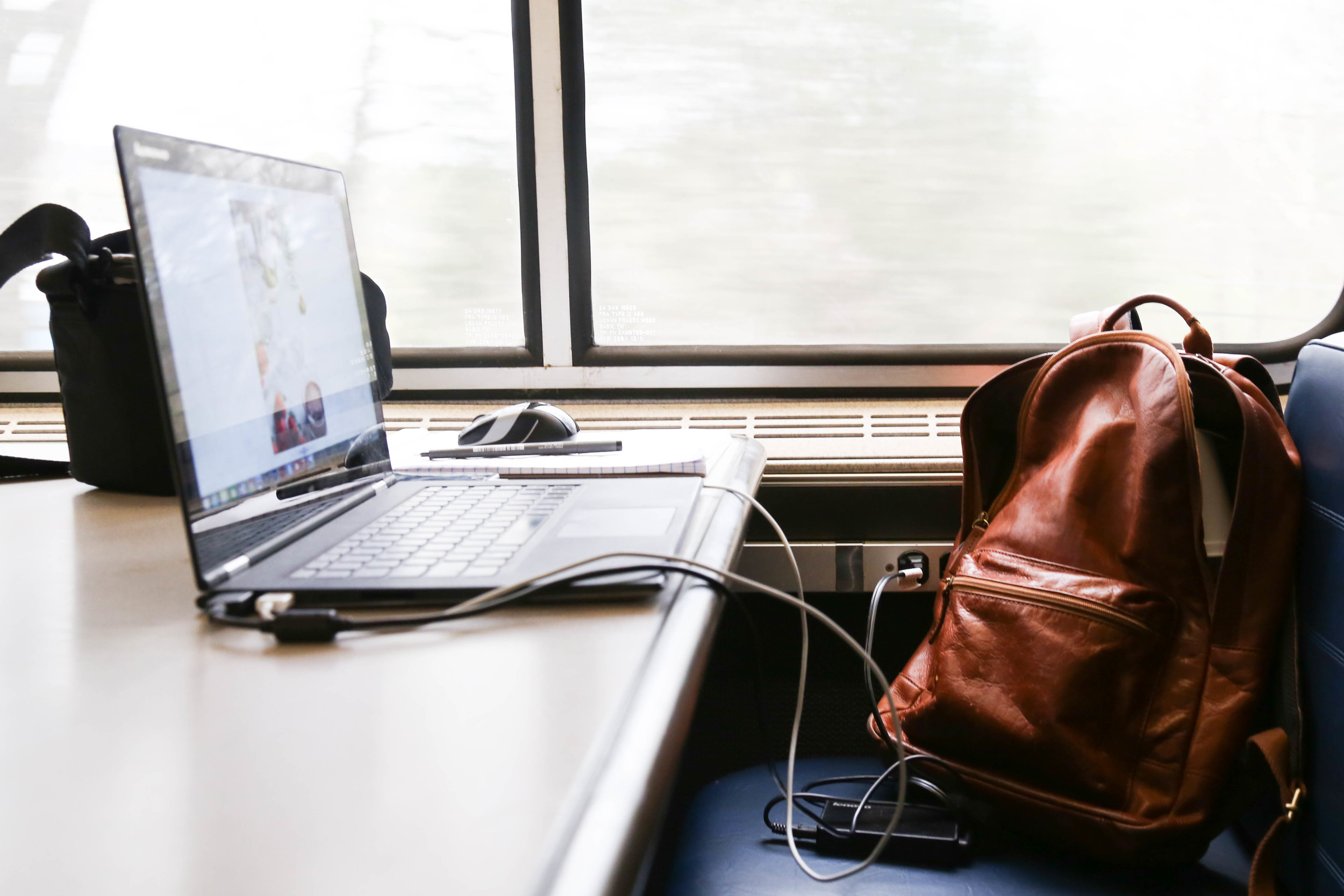 My makeshift office on the train!