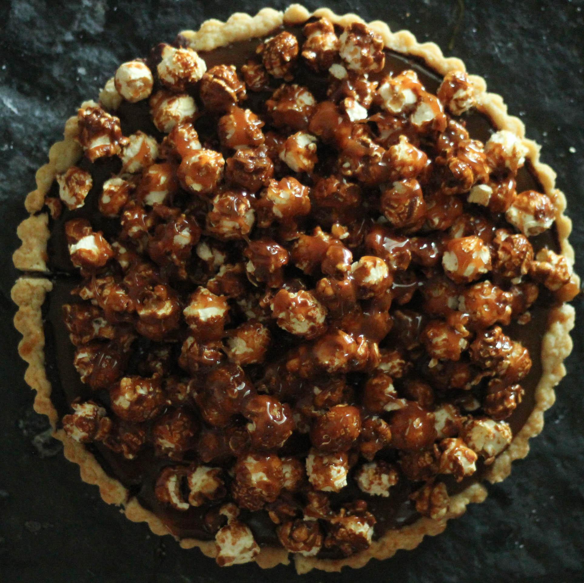 Chocolate, Caramel, +Popcorn Tart