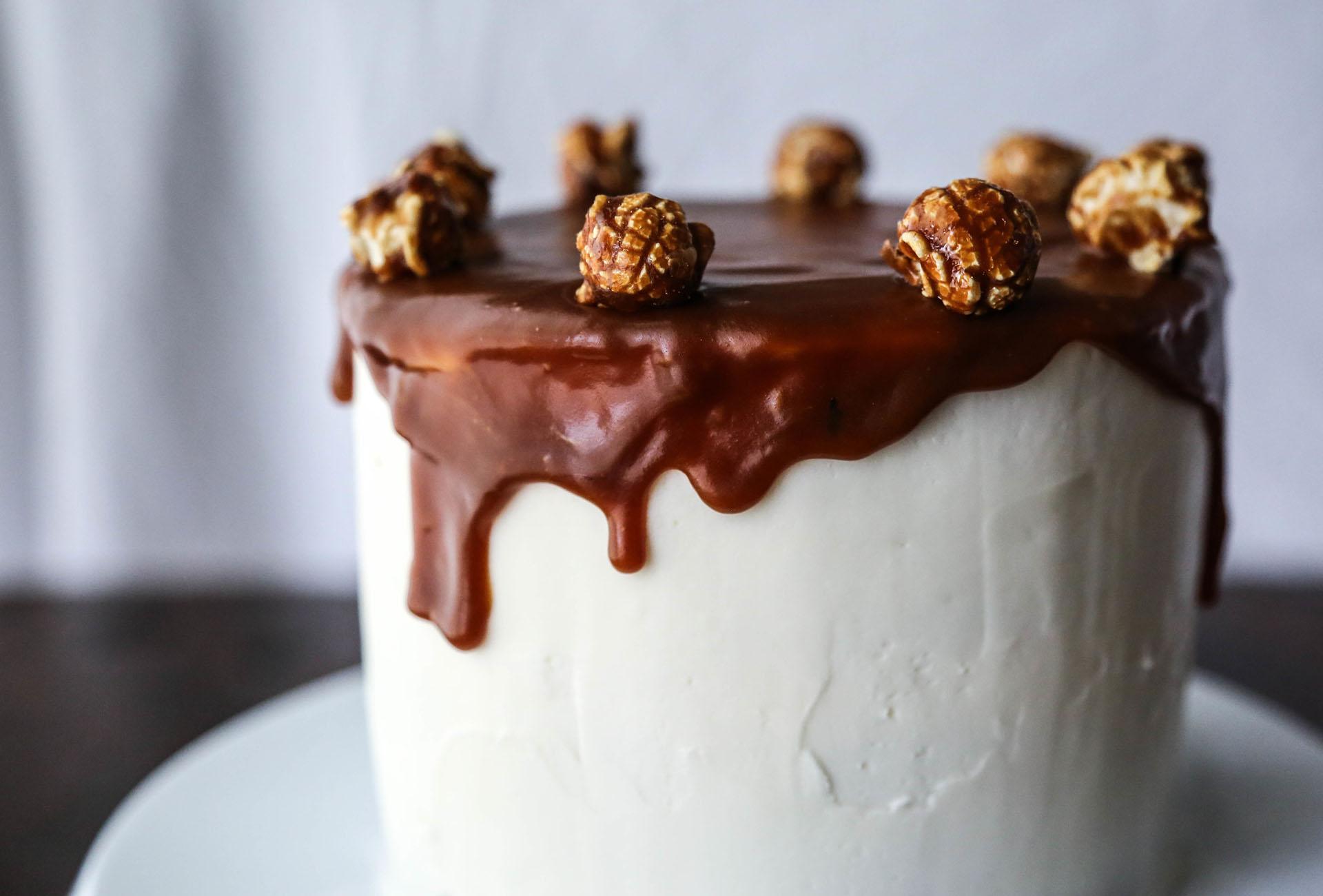 Salted Caramel Popcorn Layer Cake