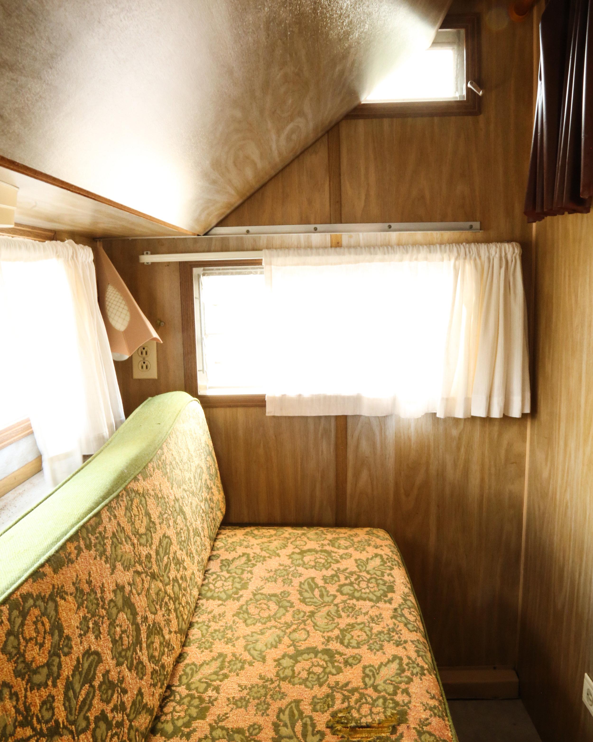 vintage trailer renovation, interior, bedroom 1