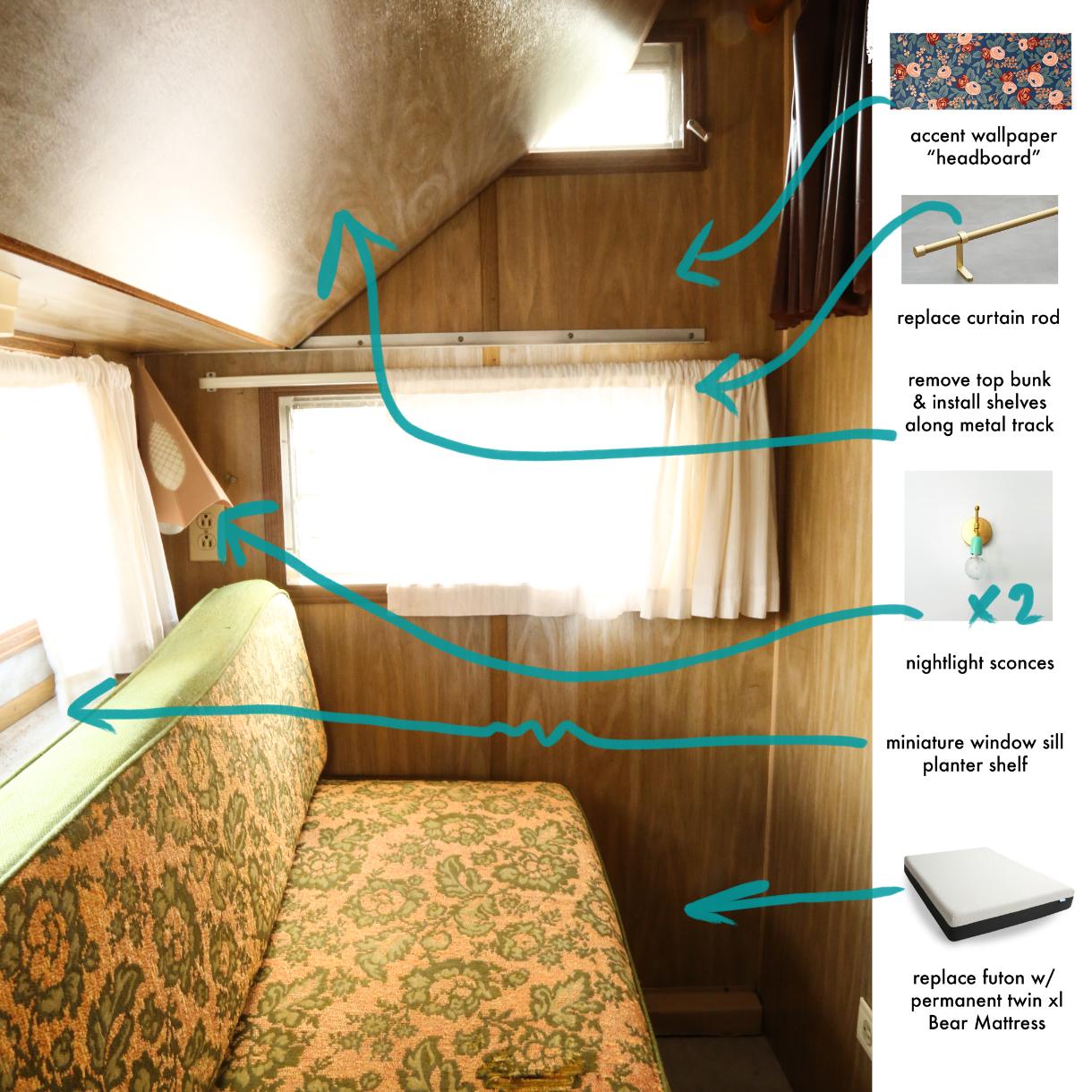 vintage trailer renovation plan, interior, bedroom