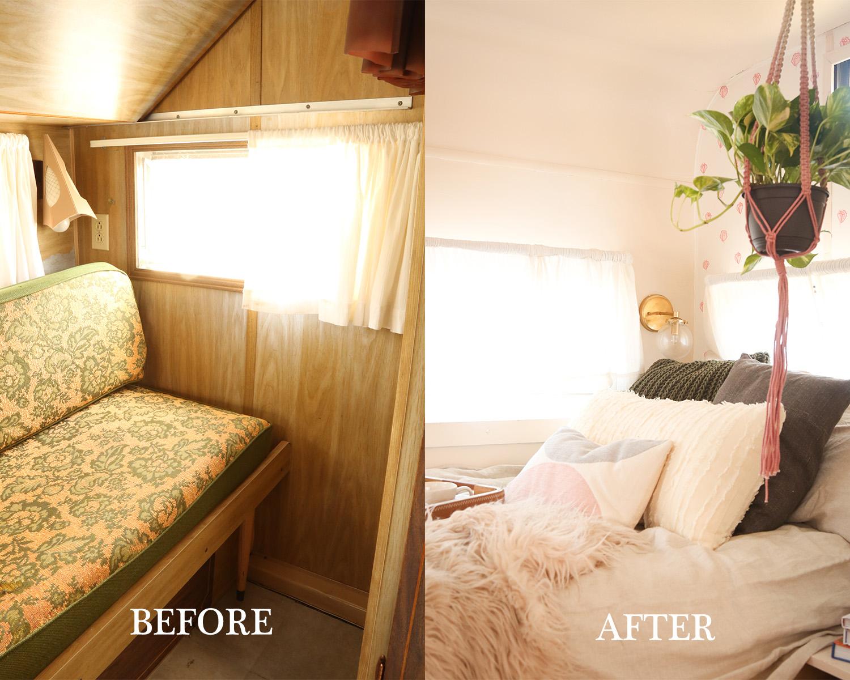 renovated vintage camper bedroom makeover
