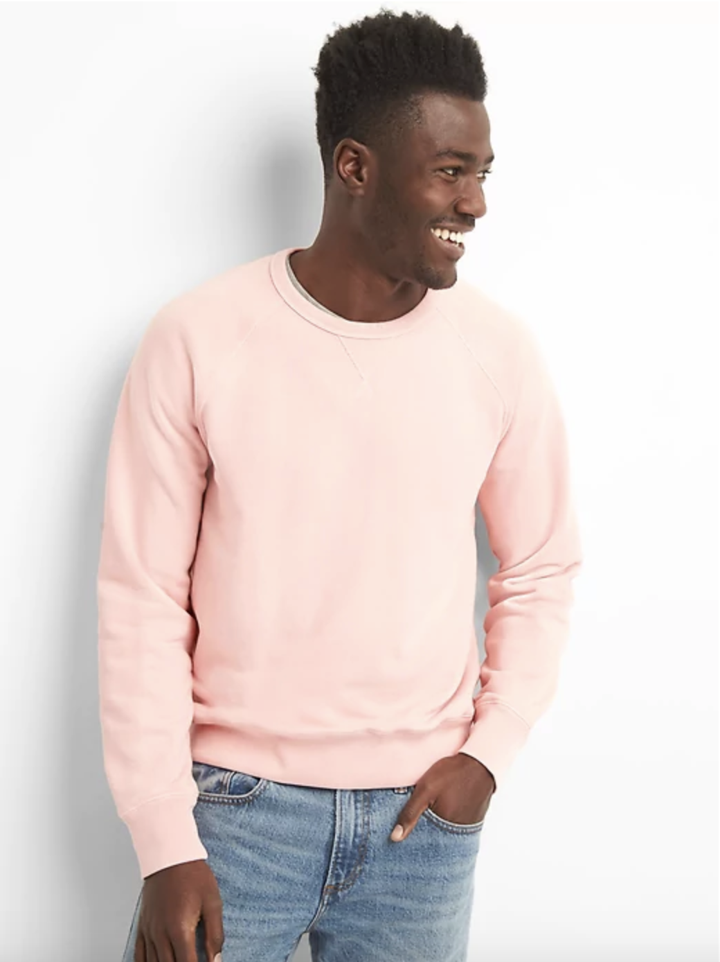 Pullover Crewneck in Pink - $55