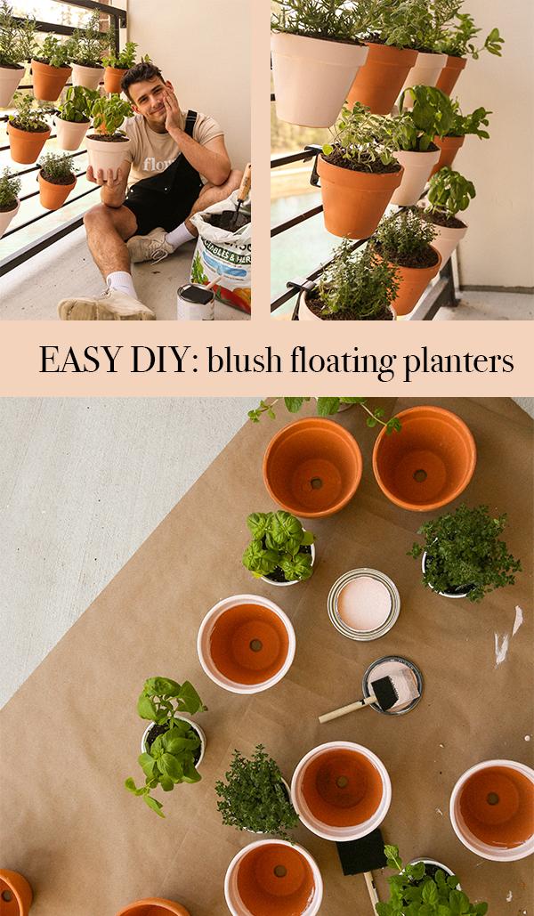diy blush floating planters