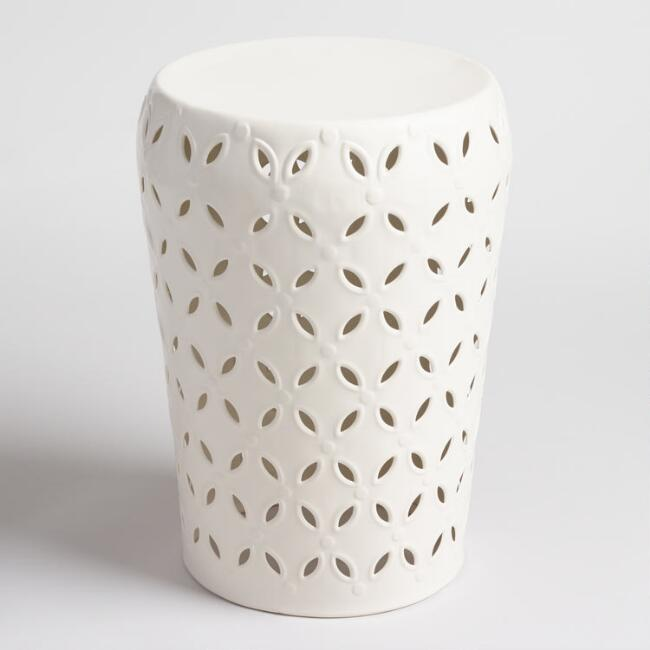 White Lili Drum Stool