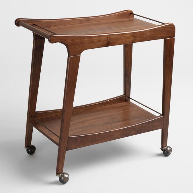 Walnut Mid Century Bar Cart ($199)