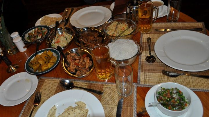 A typical Bhutanese meal.