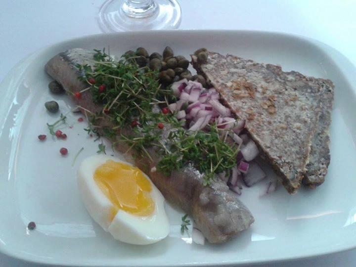 Smørrebrød - A Danish open-sandwich with Icelandic barrel fish.