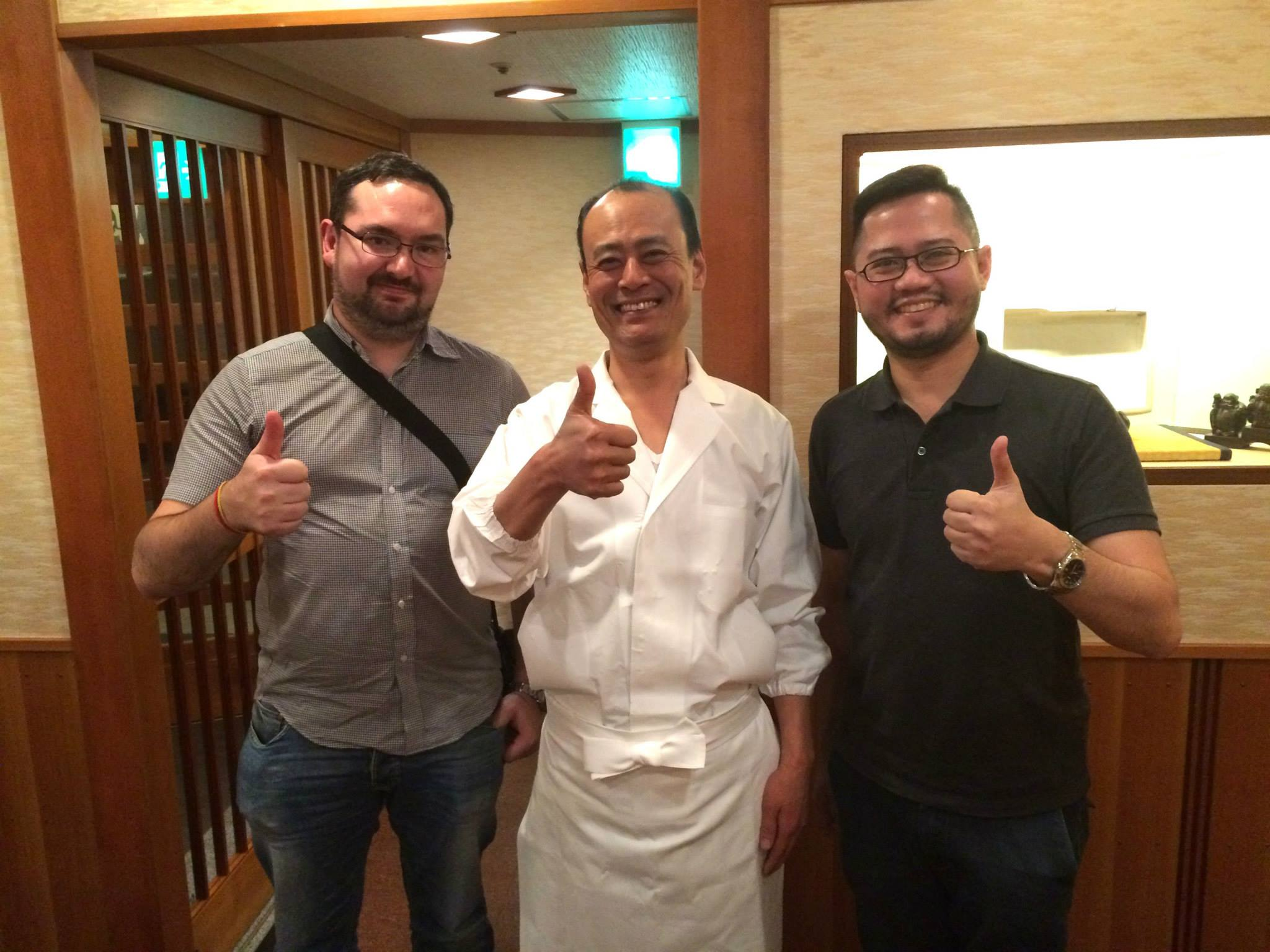 The Next Escape's Scott Allford and Ryan Buaron with 2 Michelin starred Sukiyabashi Jiro  Roponggi Hills' chef  T  akashi Ono  after a 20 course dinner!