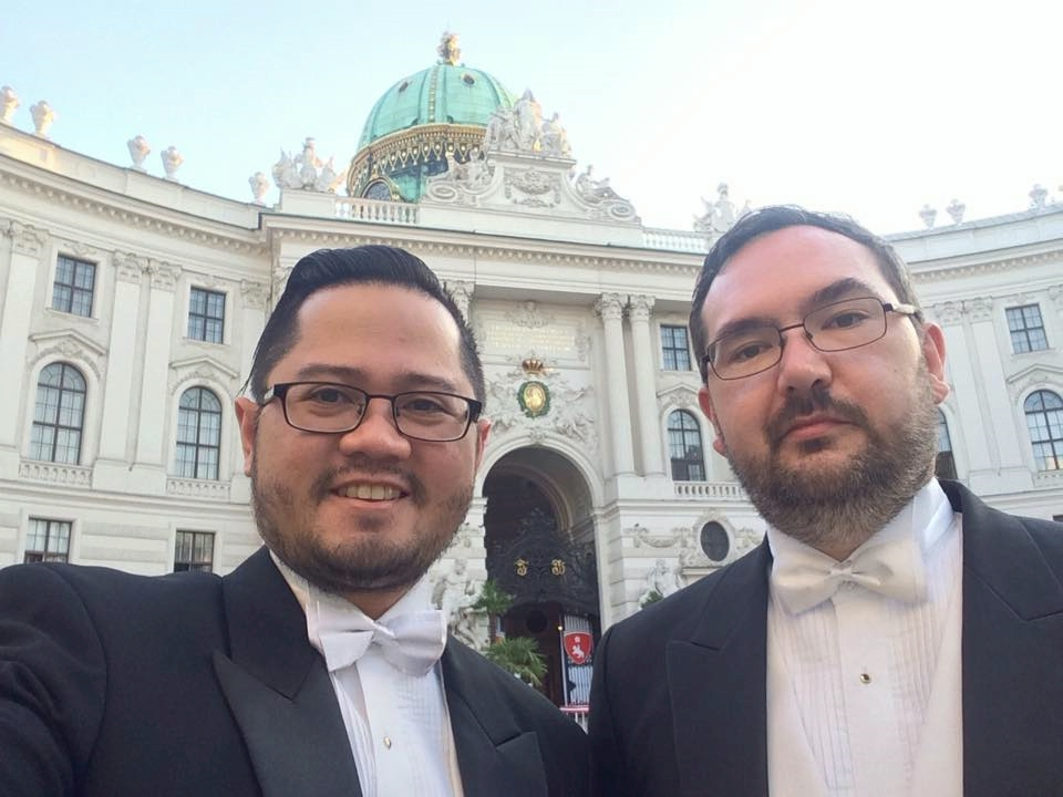 The Next Escape's Dave Ryan Aguirre Buaron and Scott Munroe Allford attending Vienna's most prestigious ball.