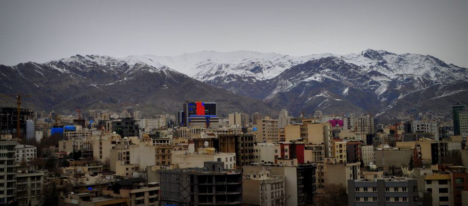 View of the Alborz Mountains from the Esteghlal Hotel