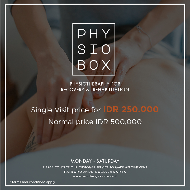 Physiotherapy helps to develops, maintains and restores body movement and function by using device, manual theraphy and exercise. Physiotherapy will help you recover from injury, eliminate pain and stiffness and prevent future problems.    Info & appointment  021 514 00030 or 0811 15100 30  soulbox@asiana-group.com