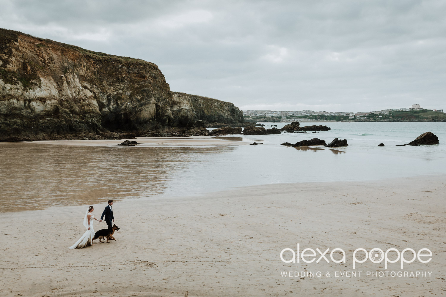 Becky and Alex enjoying a stroll on Lusty Glaze beach just by themselves with their adorable German Shepperd …
