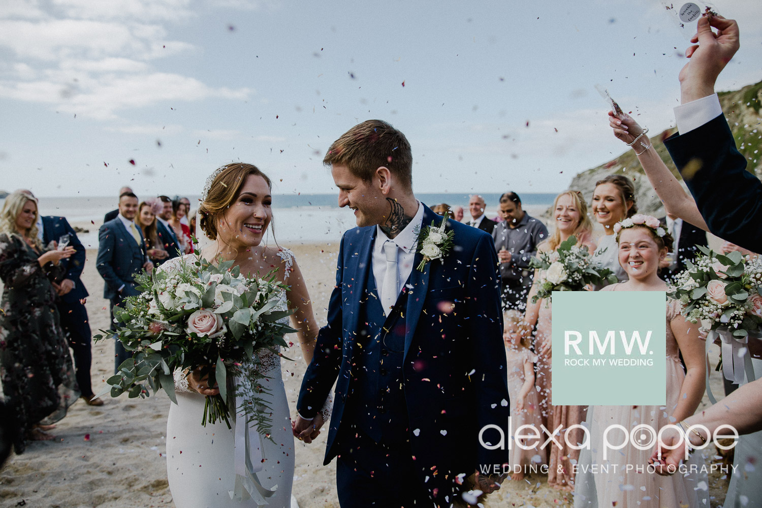 Wow, a dream of a beach wedding at the infamous Lustyglaze in Cornwall with a surprise wedding present! Featured on   Rock My Wedding   .  Get in summer swing by viewing the whole feature   here