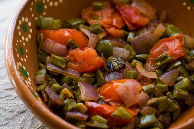 Nopalitos with tomatoes and onions, this and other recipes below