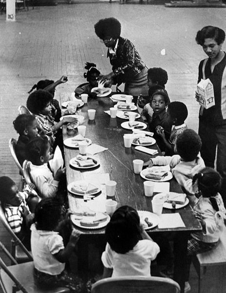Black Panther party free breakfast program, California, courtesy of the San Francisco Public library