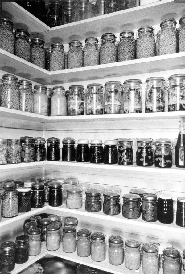 Mrs. M.C. Houser, well stocked pantry with beans on the top shelf, Columbia County, Florida circa 1940, Courtesy of the Florida State Archives, Florida memory Project.