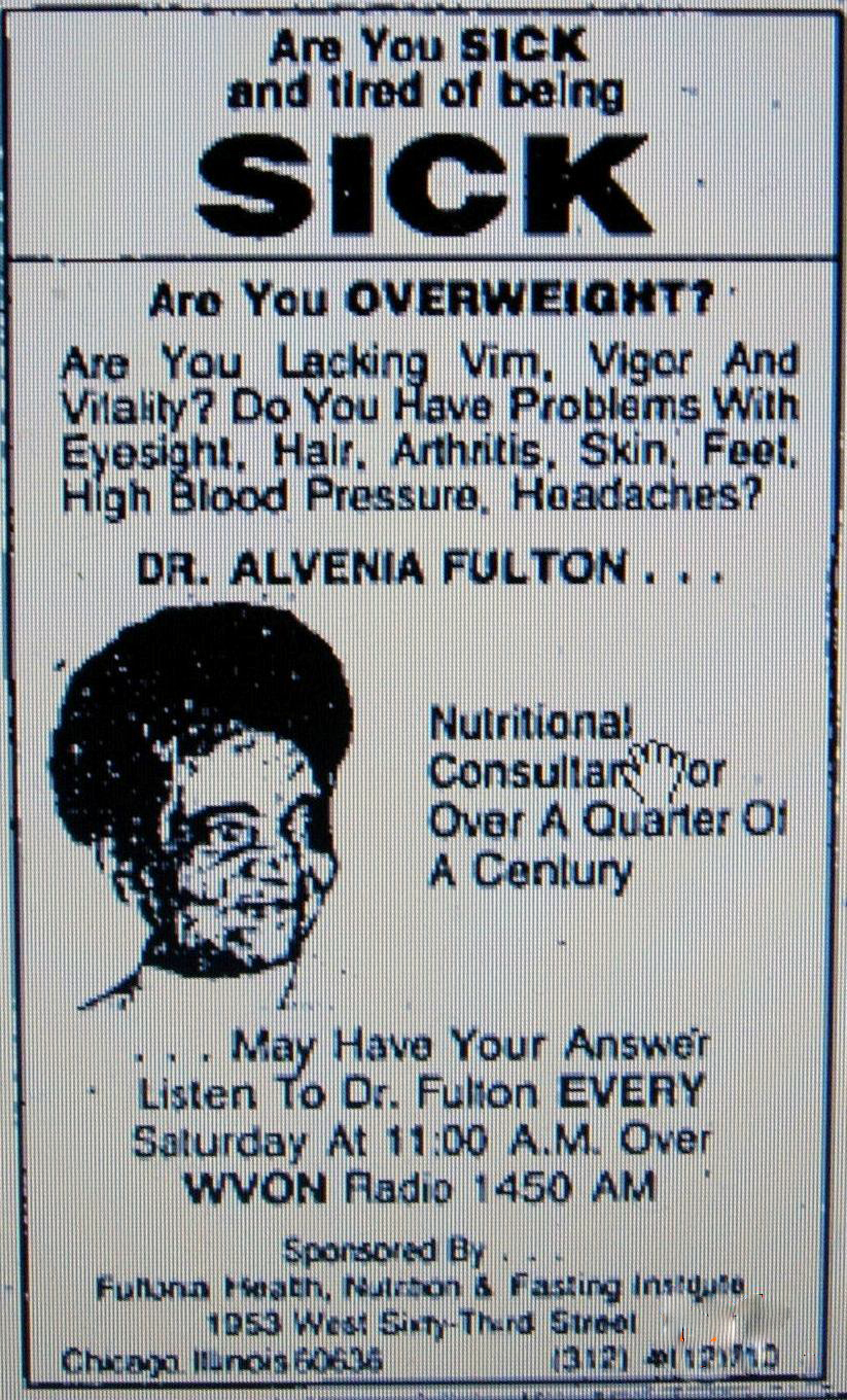 WVON AM Radio Chicago advertisement of Dr. Fulton's weekly radio show in the Chicago Tribune, Courtesy of the Chicago Tribune