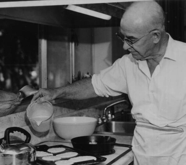 E. Harris Drew (1903-1978), Florida Supreme Court Justice from1952 to1971, cooking pancakes, Courtesy of State Archives of Florida, Florida Memory Project