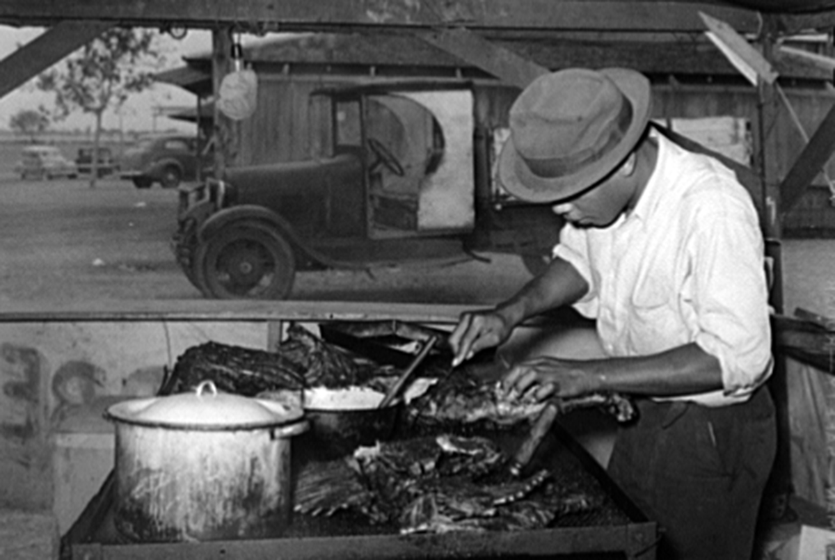 Carving barbecued meat, 1937, Courtesy of the Library of Congress