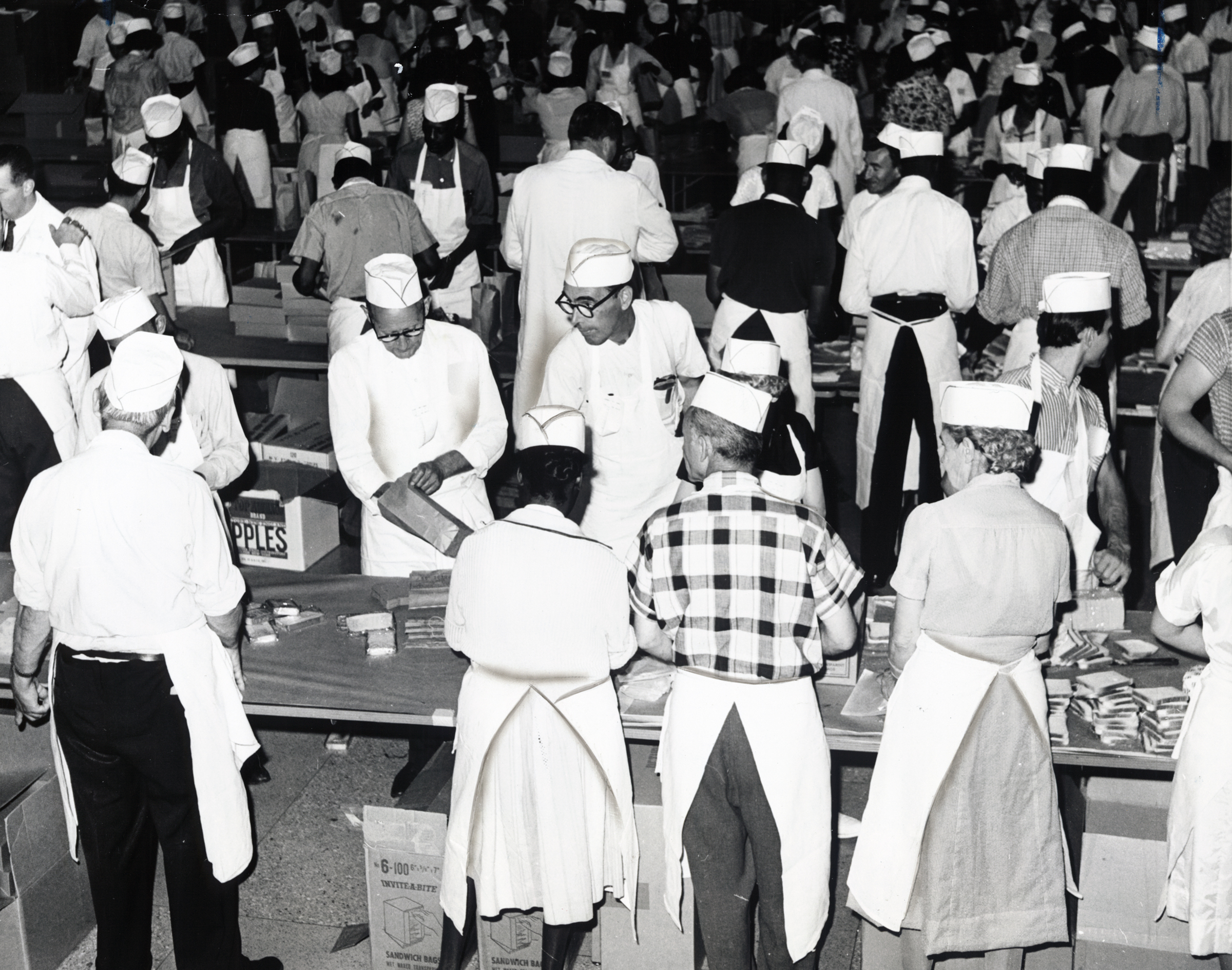 Members of the sandwich brigade assembling sandwiches for the March on Washington, Riverside Church, Harlem, New York, Courtesy of the Library of Congress