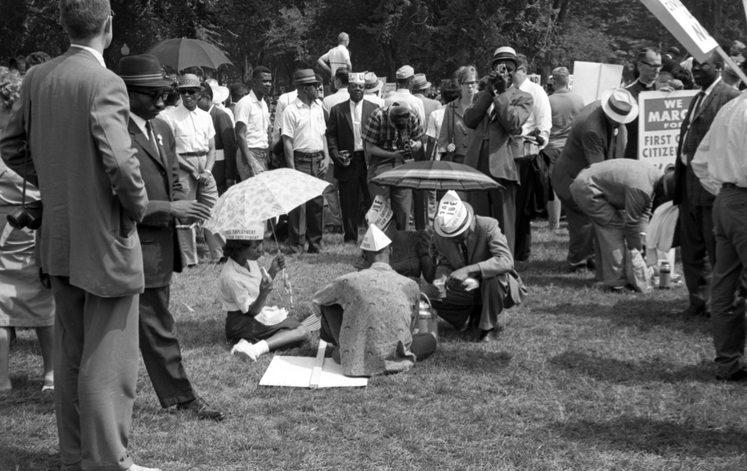 Attendees stopping to eat at the March on Washington, Courtesy of the Library of Congress