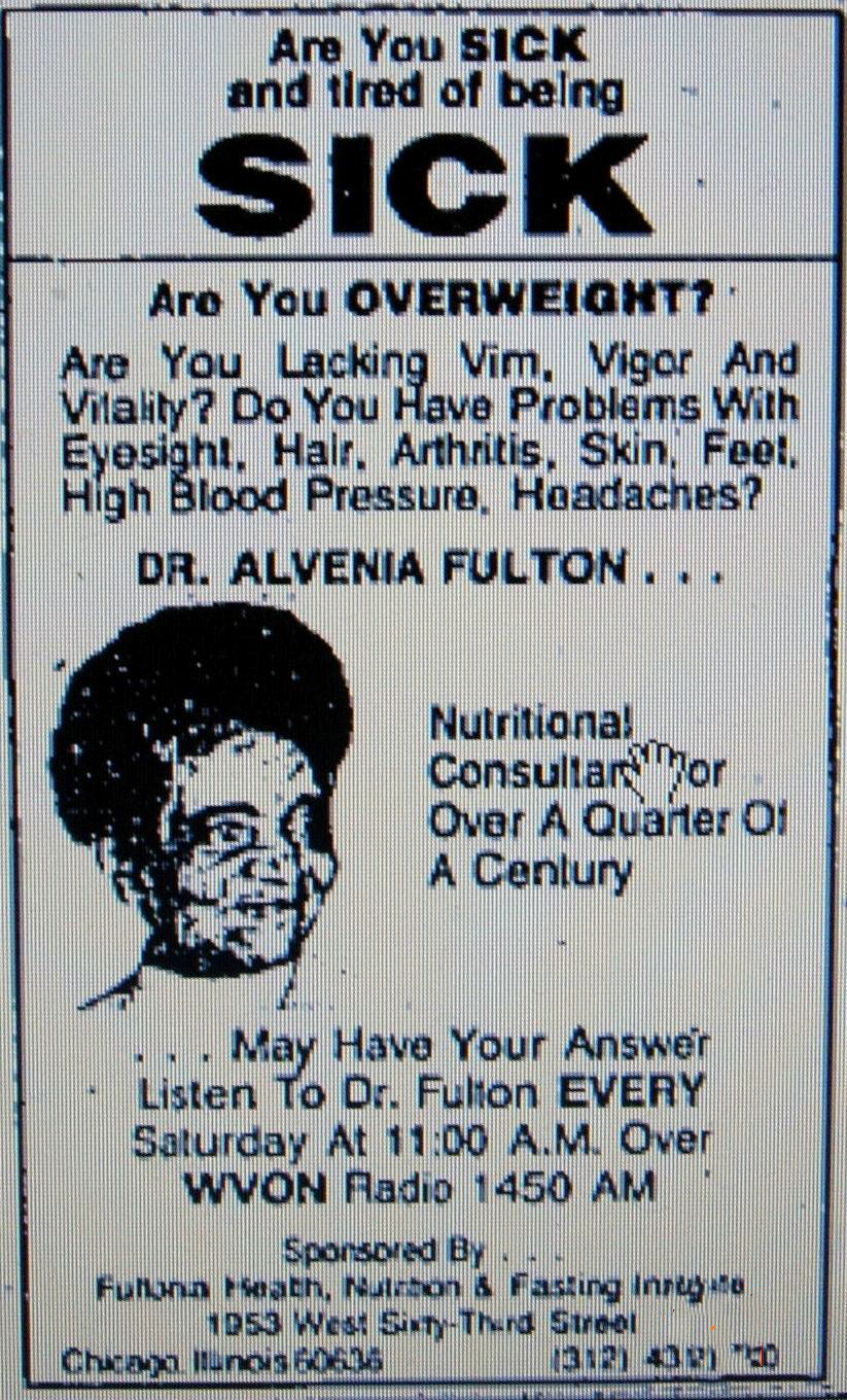 A Dr. Fulton add for radio show on WVON in the  Chicago Tribune