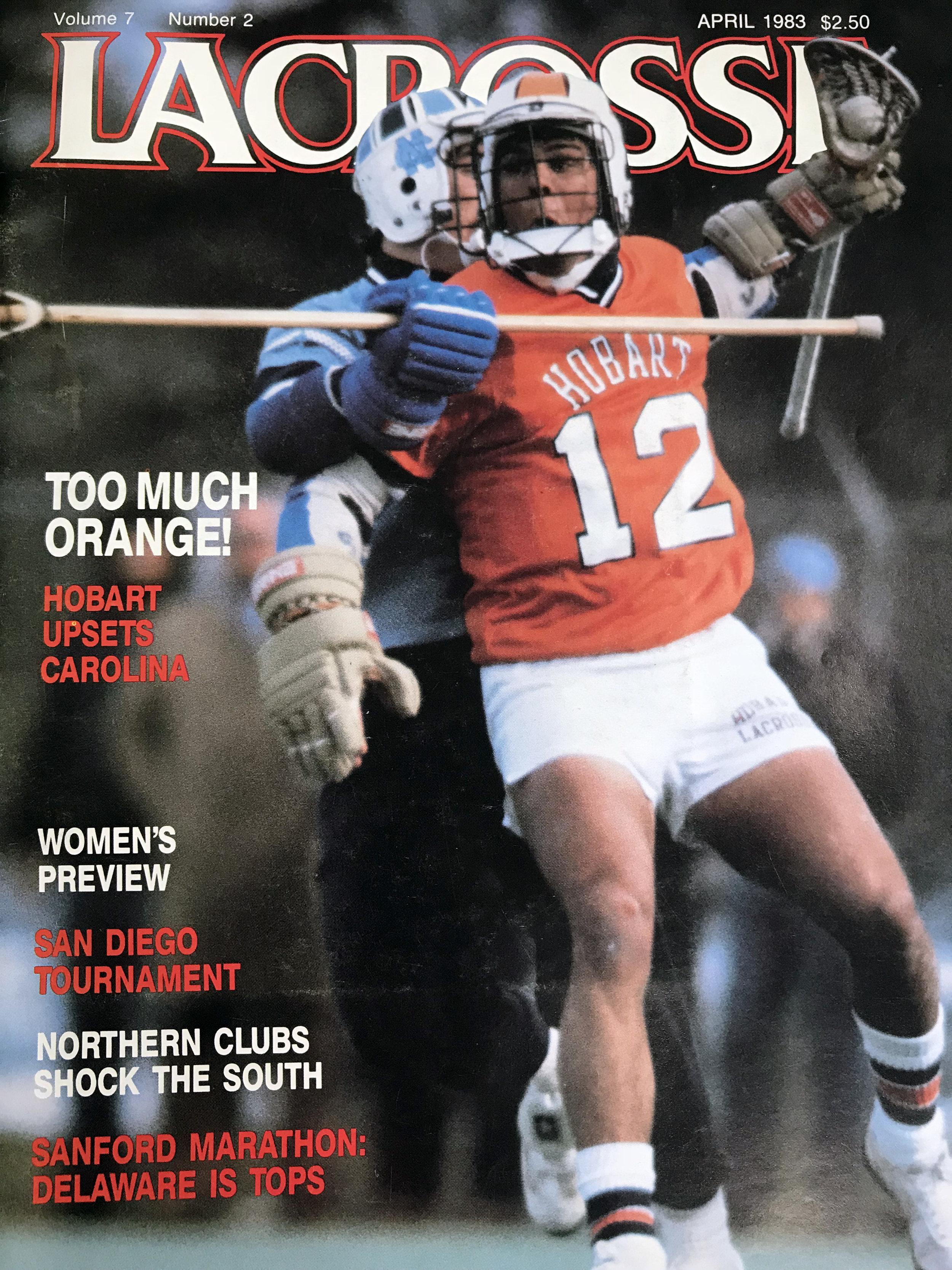 UNC alum and Hall of Famer Tom Haus covering Tom Grimaldi, 1983, Courtesy of  Lacrosse Magazine.