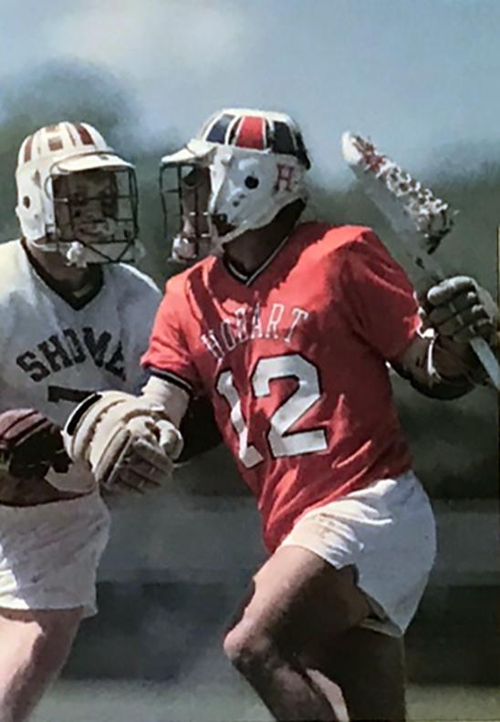 Washington College Hall Famer Steve Beville (Cortland State head lacrosse Coach) covering Tom Grimaldi circa 1985, Courtesy of  Lacrosse Magazine