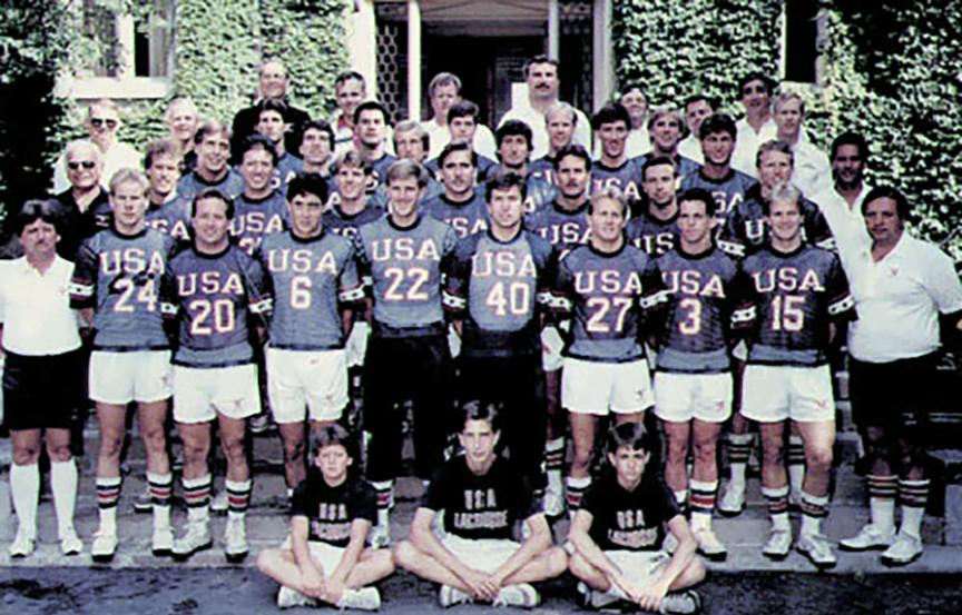1986 team, Jim Burke number 27, first row, Courtesy of US Lacrosse