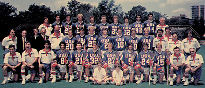 1982 team, Jim Burke wearing 27, first row, Courtesy of US Lacrosse