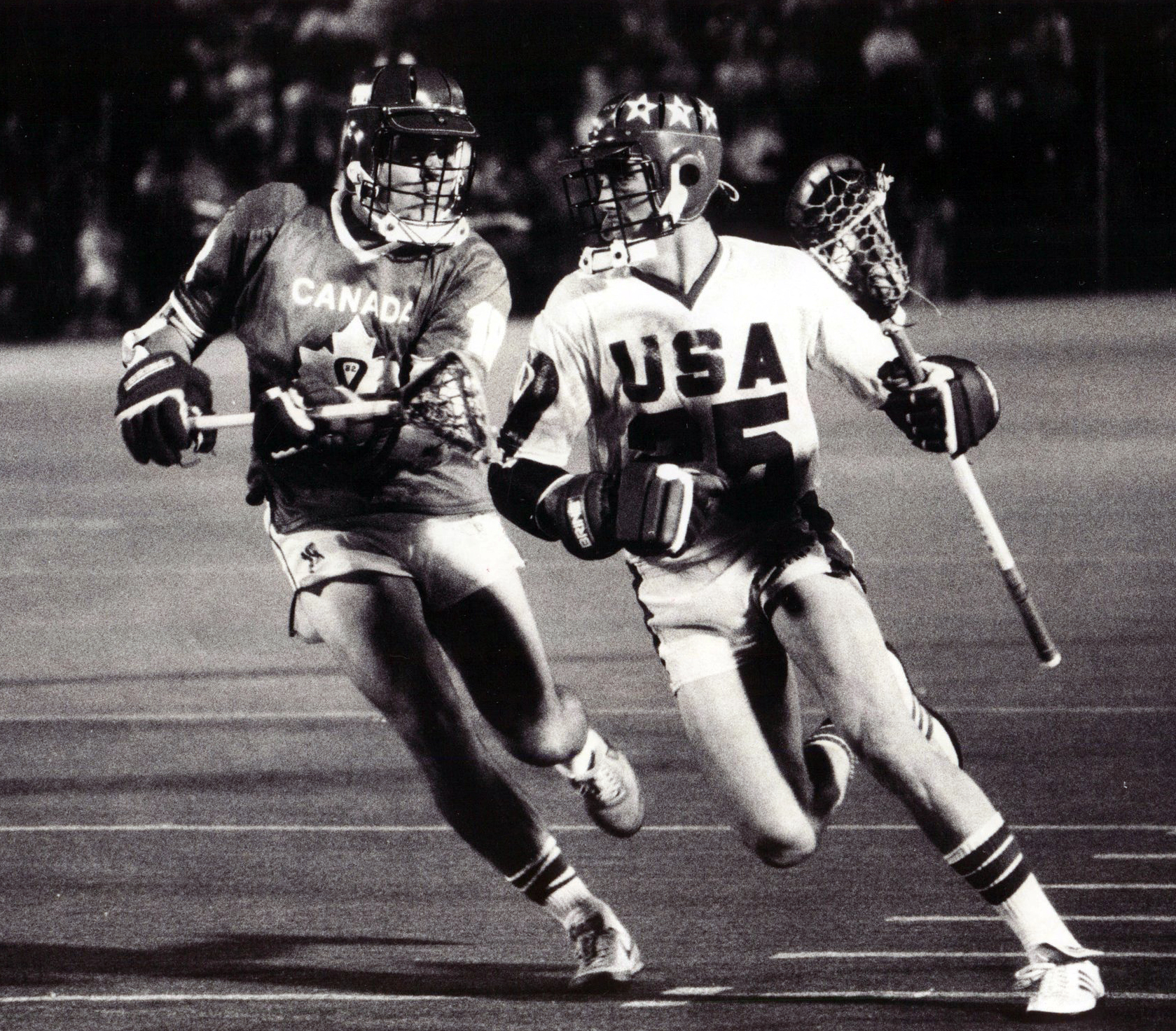 Brendan Schneck going to the hoop against team Canada in 1982, Courtesy of US Lacrosse
