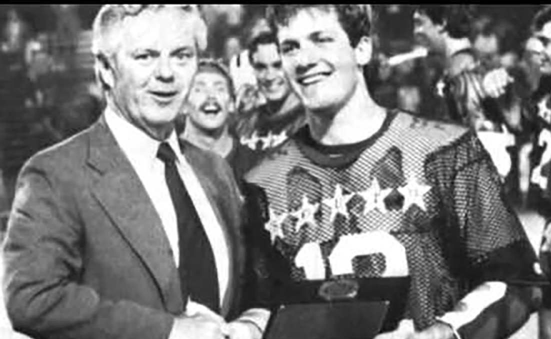Hall of Famer Cornell Coach Richie Moran congratulating Mac Ford at the 1985 North South Senior All Star Game MVP