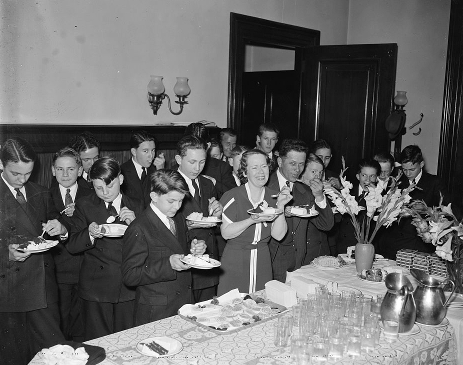 Politician (to the right of the lady in the image) had a ice cream social In 1937, Courtesy of the Library of Congress